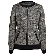 Buy Viyella Boiled Wool Bomber Jacket, Black Online at johnlewis.com