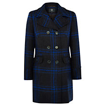 Buy Viyella Checked Pea Coat, Black/Blue Online at johnlewis.com