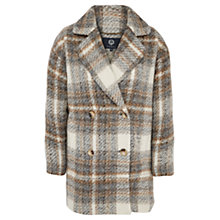 Buy Viyella Brushed Checked Coat, Cream Online at johnlewis.com