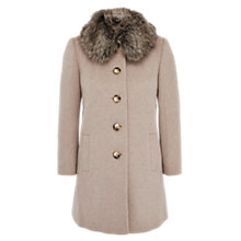 Buy Viyella Petite Faux Fur Collar Swing Coat, Oatmeal Online at johnlewis.com