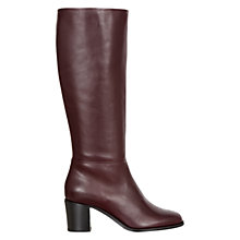 Buy Hobbs Maya Vitello Leather Block Heeled Knee Boots, Burgandy Online at johnlewis.com