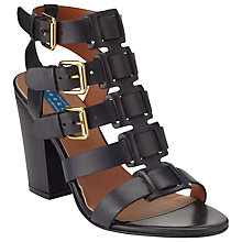 Buy Collection WEEKEND by John Lewis Dijon Leather Blocked Heeled Sandals, Black Online at johnlewis.com
