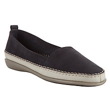Buy John Lewis Designed for Comfort Wren Leather Slip-on Shoes, Navy Online at johnlewis.com