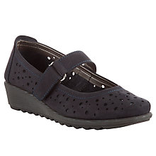 Buy John Lewis Designed for Comfort Scarlet Perforated Nubuck Pumps with Strap, Navy Online at johnlewis.com