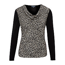 Buy Viyella Front Animal Top, Black Online at johnlewis.com