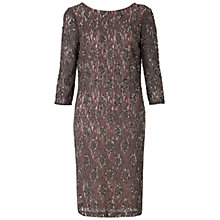 Buy Gina Bacconi Beaded Lace Dress, Beige Online at johnlewis.com