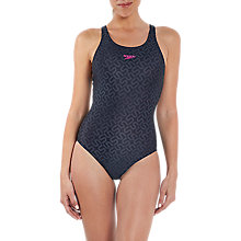 Buy Speedo Monogram Allover Muscleback Swimsuit, Black/USA Charcoal Online at johnlewis.com