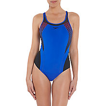 Buy Speedo Fit Pinnacle Endurance Kickback Swim Suit, Beautiful Blue Online at johnlewis.com