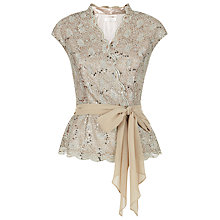 Buy Jacques Vert Lace Scoop Neck Top, Gold Online at johnlewis.com