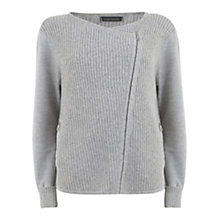 Buy Hygge by Mint Velvet Wool Blend Biker Cardigan, Grey Online at johnlewis.com