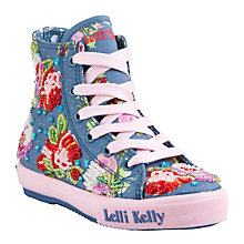 Buy Lelli Kelly Darcey Floral Beaded High-Top Trainers, Blue/Multi Online at johnlewis.com
