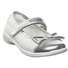Buy Lelli Kelly Girls' Sparkling Claude Bow Shoes, White/Silver Metallic Online at johnlewis.com