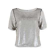 Buy Mint Velvet Sequin Covered T-Shirt, Silver Online at johnlewis.com