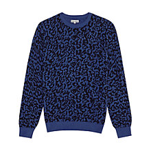 Buy Reiss Arrow Leopard Print Crew-Neck Jumper, Blue Online at johnlewis.com