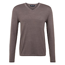 Buy Aquascutum Pearce V Neck Jumper, Brown Online at johnlewis.com