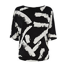 Buy Oasis Bold Mono Print Top, Black/White Online at johnlewis.com