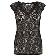 Buy Oasis Lace V-Neck T-Shirt, Black Online at johnlewis.com