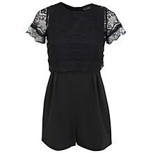 Buy Miss Selfridge Petite Scallop Lace Playsuit, Black Online at johnlewis.com
