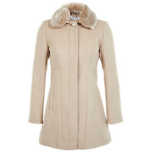 Buy Miss Selfridge Petite Fur Collar Coat, Camel Online at johnlewis.com