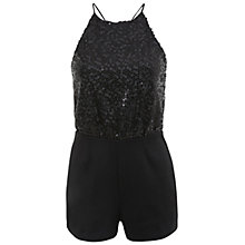Buy Miss Selfridge Sequin Top Playsuit, Black Online at johnlewis.com