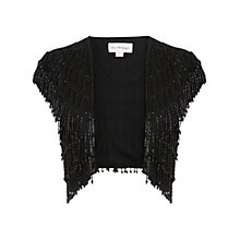 Buy Miss Selfridge Fringed Beaded Jacket, Black Online at johnlewis.com