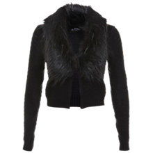 Buy Miss Selfridge Short Faux Fur Cardigan, Black Online at johnlewis.com