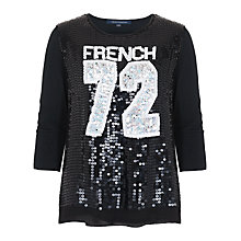 Buy French Connection Soccer Sequin Varsity Top, Black/White Online at johnlewis.com