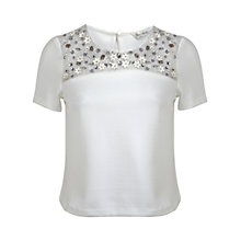Buy Miss Selfridge Embellished Yoke T-Shirt, White Online at johnlewis.com