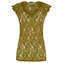 Buy Oasis Lace V-Neck T-Shirt, Mid Yellow Online at johnlewis.com