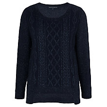 Buy French Connection Glitter Jitter Cable Knit Jumper, Utility Blue Online at johnlewis.com