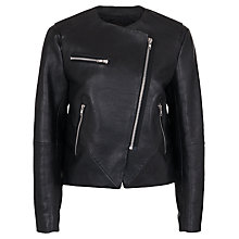 Buy French Connection Northern Leather Collarless Jacket, Black Online at johnlewis.com