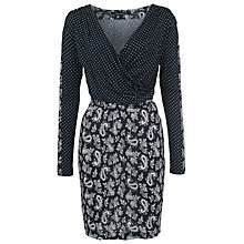 Buy French Connection Mini Paisley Long Sleeve Dress, Black/Multi Online at johnlewis.com