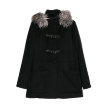 Buy Mango Detachable Faux Fur Hood Coat, Black Online at johnlewis.com