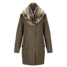 Buy Jigsaw Shawl Collar Parka, Khaki Online at johnlewis.com