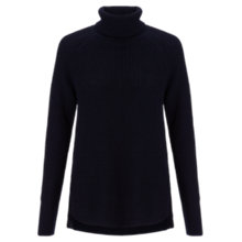 Buy Jigsaw Roll Neck Raglan Sweatshirt, Navy Online at johnlewis.com