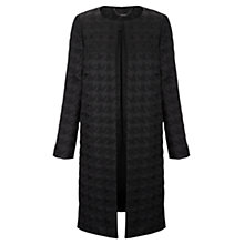 Buy Jigsaw Dogtooth Jacquard Coat, Black Online at johnlewis.com