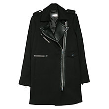 Buy Mango Leather Lapel Biker Coat, Black Online at johnlewis.com