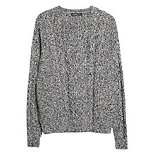 Buy Mango Cable-Knit Cotton Blend Jumper, Dark Blue Online at johnlewis.com