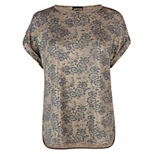 Buy Warehouse Floral Metallic T-Shirt, Gold Online at johnlewis.com