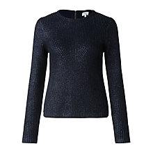 Buy Jigsaw Foil Print Rib Sweatshirt, Navy Online at johnlewis.com