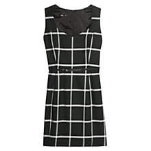 Buy Mango Check Belt Dress, Black Online at johnlewis.com