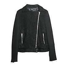 Buy Mango Tweed Biker Jacket, Black Online at johnlewis.com