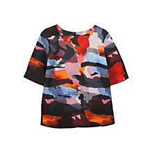 Buy Mango Printed Neoprene Blouse, Bright Red Online at johnlewis.com