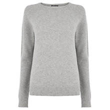 Buy Warehouse Textured Sleeve Jumper, Light Grey Online at johnlewis.com