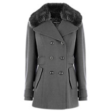 Buy Warehouse Fur Collar Reefer Coat, Mink Online at johnlewis.com