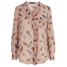Buy Oasis Feather Print Shirt, Multi Pink Online at johnlewis.com
