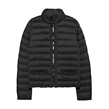 Buy Mango Side Zip Quilted Coat, Black Online at johnlewis.com