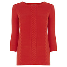 Buy Oasis Textured Cotton Waffle Jumper, Mid Orange Online at johnlewis.com
