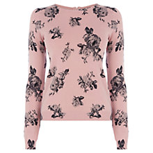 Buy Oasis Rose Printed Crop Jumper, Pale Pink Online at johnlewis.com