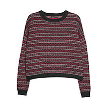 Buy Mango Alpaca Wool Blend Jacquard Jumper, Black Online at johnlewis.com